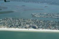 Aerial view of North Clearwater Beach the caroulel subdivision of beach front homes